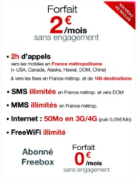 Free Mobile Forfait 2 Euros 4G