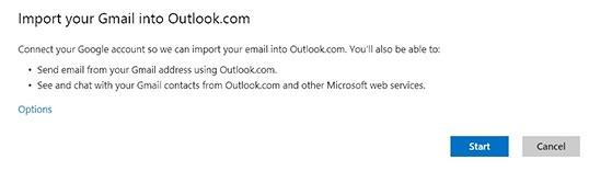 Outlook Outil Transfert depuis Gmail