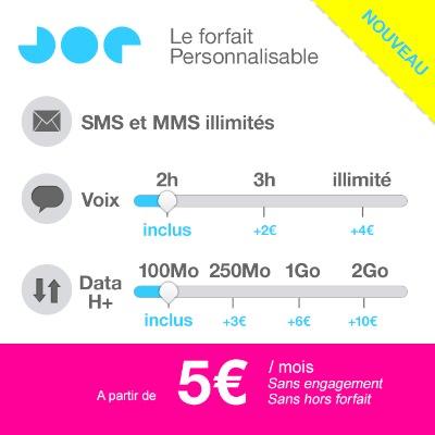 Joe Mobile Forfait Personnalisable Ajout Internet