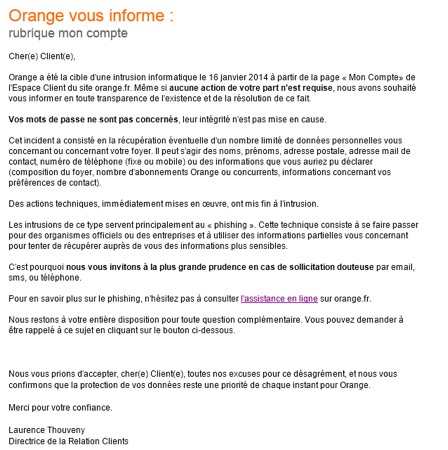 Orange Intrusion Informatique Janvier 2014