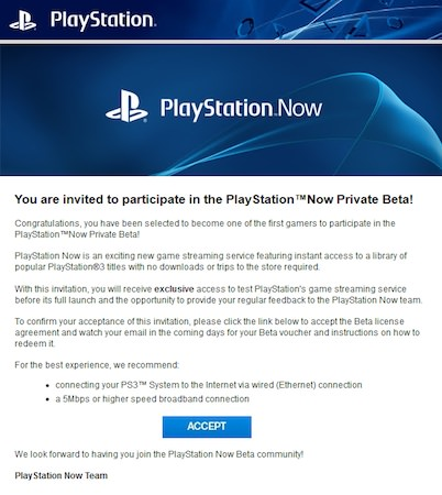 PlayStation Now Invitation