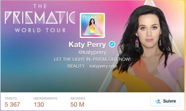 Twitter Katy Perry 50 Millions Abonnes