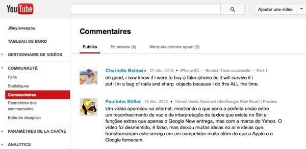YouTube Gestionnaire Commentaires