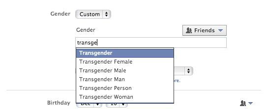Facebook Changement Sexe Personnalise