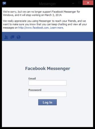 Facebook Messenger Windows Arret