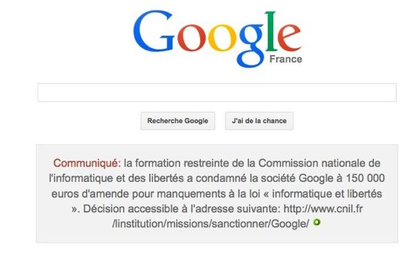 Google Message Condamnation CNIL