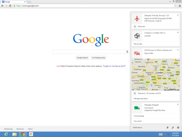Google Now Chrome Beta
