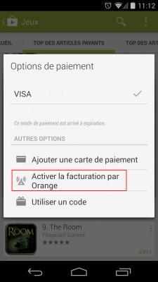 Google Play Facturation Orange