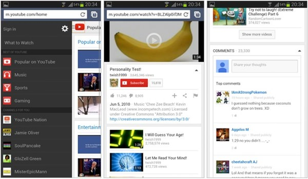 YouTube Mobile Nouvelle Interface 2014