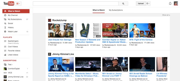 YouTube Nouvelle Interface Fevrier 2014
