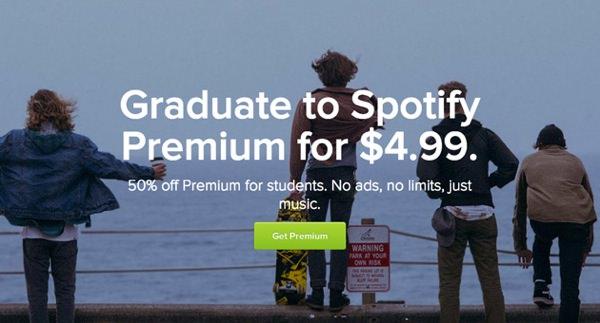 Spotify 4,99 dollars par mois Etudiants USA