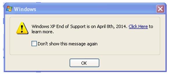 Windows XP Arret Support Pop-up