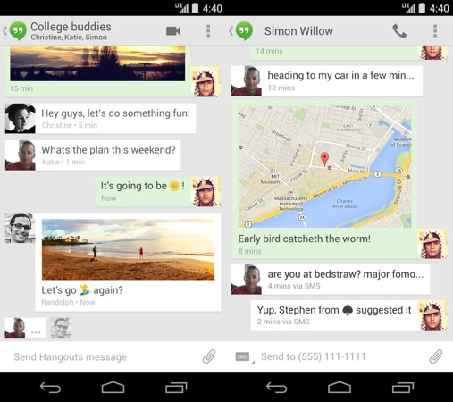 Hangouts Android Messages SMS Fusionnes