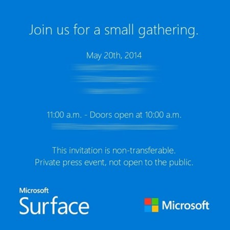 Microsoft Invitation Surface Mini 20 mai 2014