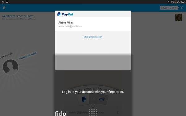 PayPal Galaxy Tab S Empreinte