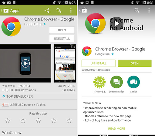 Google Play Ancienne Interface vs Nouvelle