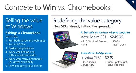 Microsoft Attaque Chromebooks Prix