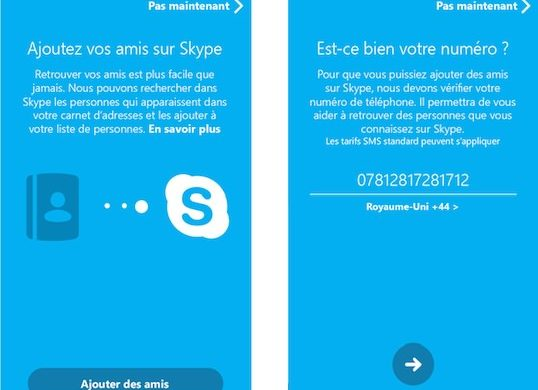 Skype 5.0 Android Ajout Contacts