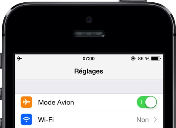 Mode Avion iPhone