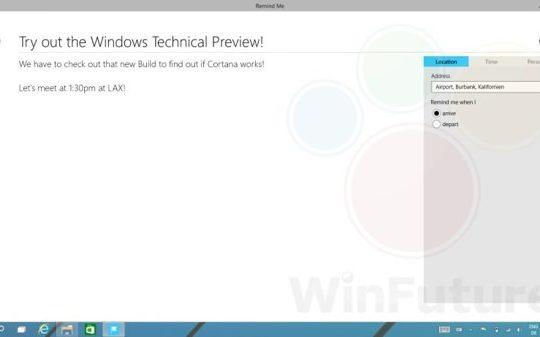 Windows 9 Fuite Cortana