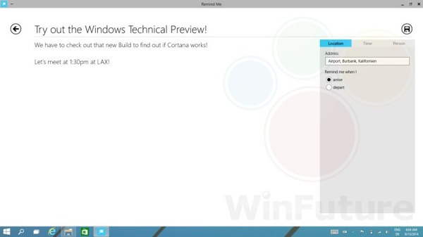 Windows 9 Fuite Cortana