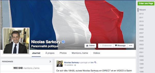 Nicolas Sarkozy Facebook
