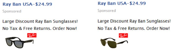 Fausse Publicite Ray-Ban Facebook
