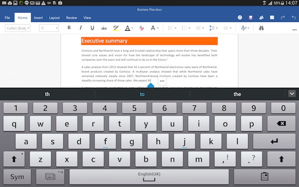 Microsoft Office Word Android Tablette