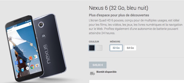 Nexus 6 Google Play France