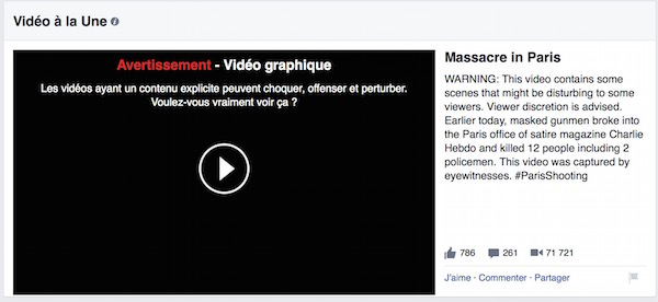Facebook Avertissement Video Violente