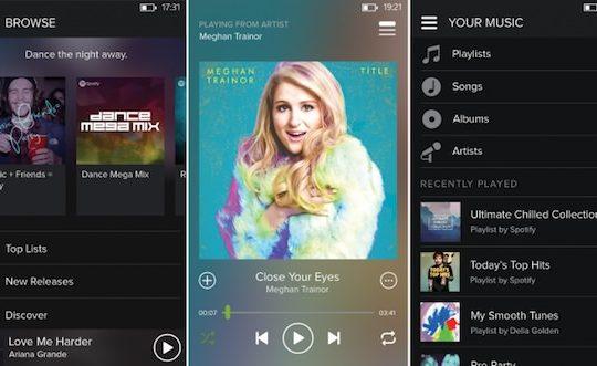 Spotify Windows Phone Nouveau Design Sombre