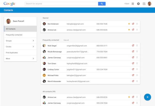 Google Contacts Nouvelle Interface