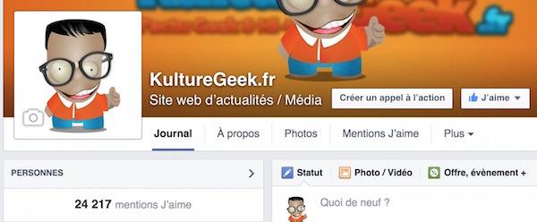 Page Facebook KultureGeek