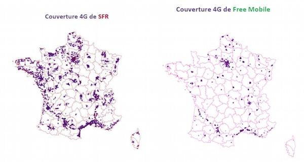 Couverture 4G SFR Free Mobile Arcep Mai 2015