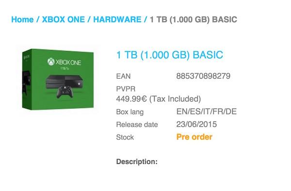 Xbox One 1 To Fuite Revendeur