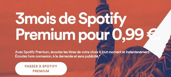 Spotify 3 mois 0,99 Euro
