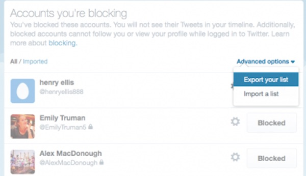Twitter Partage Liste Personnes Bloquees