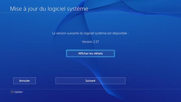 PlayStation 4 Mise A Jour 2.57