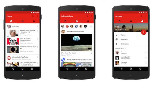 YouTube Nouveau Design Application Mobile