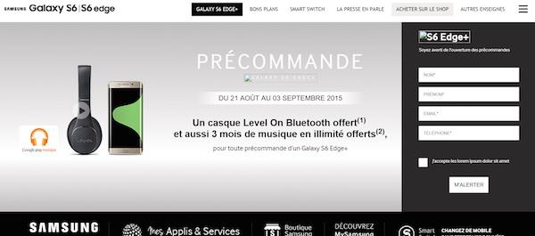 Precommande Page Galaxy Note S6 Edge Plus
