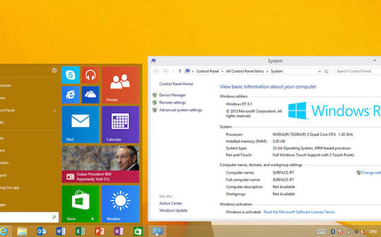 Windows RT Menu Demarrer
