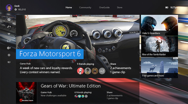 Xbox One Nouvelle Interface Windows 10