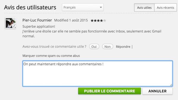 Chrome Web Store Repondre Commentaire