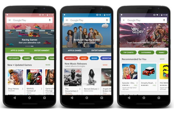Google Play Nouvelle Interface Octobre 2015