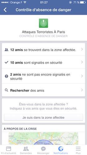 Facebook Alerte Attaques Paris
