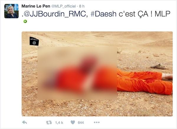 Marine Le Pen Daech Tweet