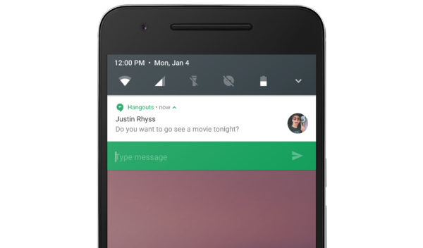 Android N Repondre Notifications