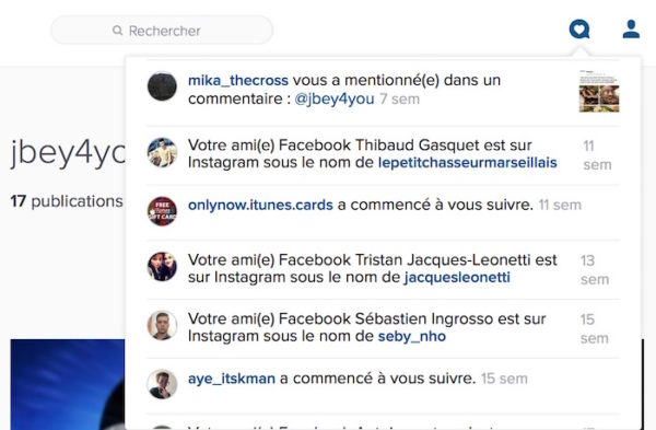Instagram Web Notifications