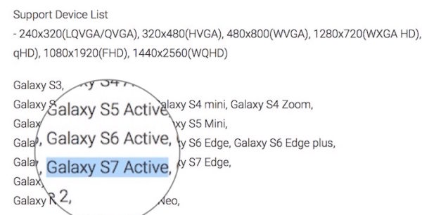 Mention Galaxy S7 Active
