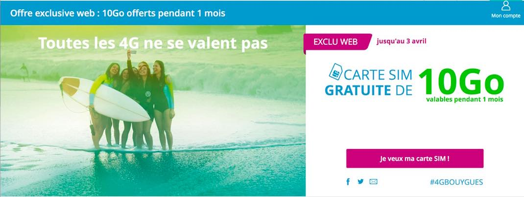 Bouygues Telecom Une Carte Sim 4g 10 Gb Gratuite Pendant 1 Mois Kulturegeek